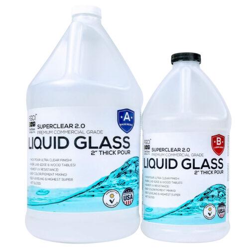 """Liquid Glass 1-1/2 Gal. Kit - Pour 2"""" Plus per Pour for Live Edge & River Tables"""