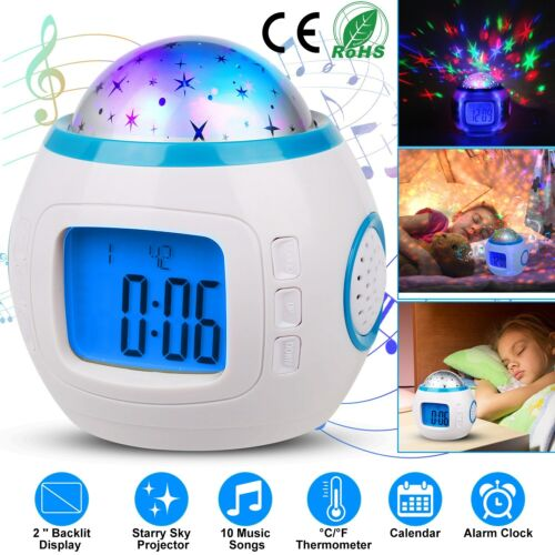 Starry Sky Night Light Projection Music Digital Alarm Clock