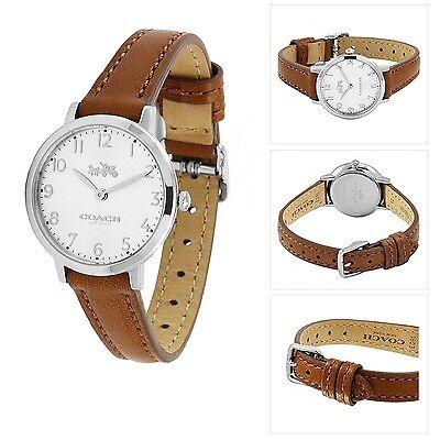 Nwt Coach Damen 14502563 Ultradünn Braunes Leder Armband Uhr Neu Ovp ()