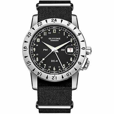 Glycine 3904.19.12h.TB9 Men's Airman DC-4 GMT Black Automatic Watch {ETA Base}