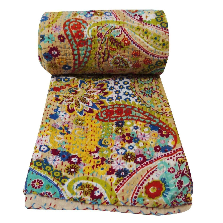 Queen size Indian Kantha Quilt Handmade Bedspread Blanket Th