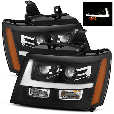 For 2007-2014 Suburban/Tahoe/Avalanche LED Tube Black Dual Projector Headlights