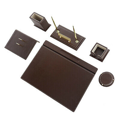 Calme 8 Pcs Desk Pad Set Desk Blotter Set High Quality Leather In Brown