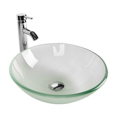 Bathroom Frosted Clear Glass Vessel Sink Bowl Chrome Faucet Pop-up Drain Basin