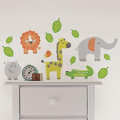 JUNGLE ANIMALS 15 Wall Decals Lion Hippo Zoo Alligator Room Decor Stickers Baby - Jungle Babies Wall Decals