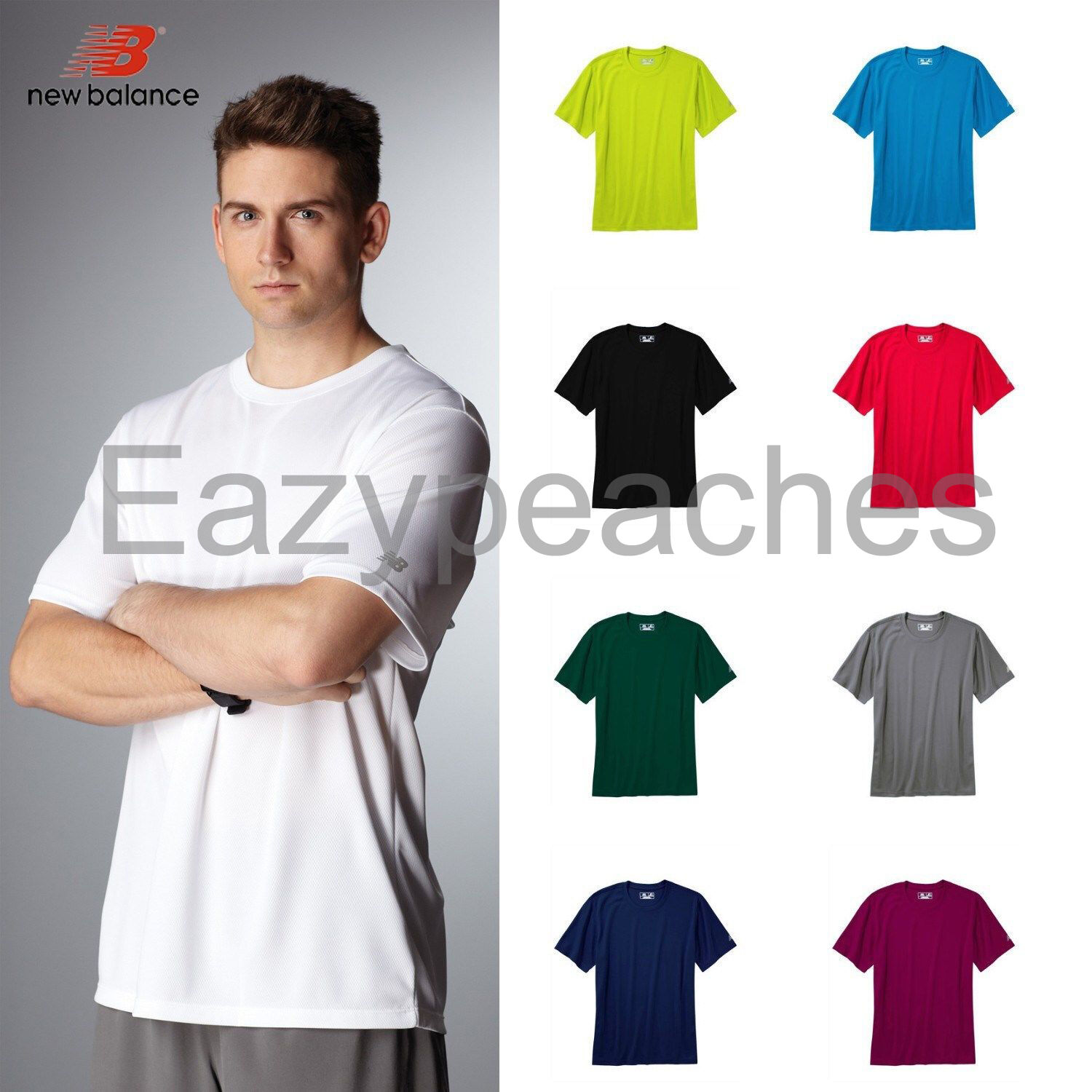 3436129f9c53a New Balance Mens S-3XL Short Sleeve Gym T-shirt dri-fit Workout Tees N7118.  Click to Enlarge