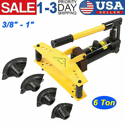New 6 Ton Pipe Bender Manual Hydraulic Tube Bending 4 Dies Tubing Exhaust Tool
