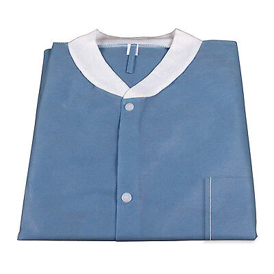 Dark Lab (Medical Disposable Protective Lab Coat Gown With Pockets Dark Blue 10/pcs)