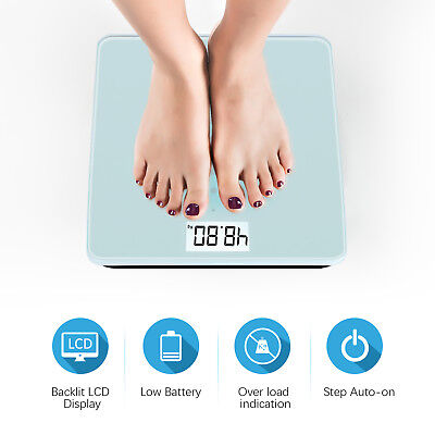 (New Smart Weigh 440lb LCD Bathroom Digital Body Weight Scale Tempered Glass USA )