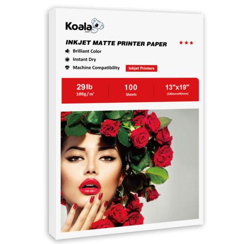 Koala 100 Sheets 13x19 Premium Matte Inkjet Printer Photo Paper Epson Canon A3+
