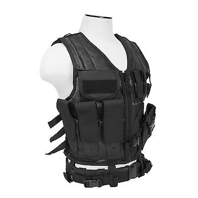 Military Tactical Vest - NcSTAR CTV2916B PVC Military Tactical Heavy Duty Vest w/ Pistol Holster Black