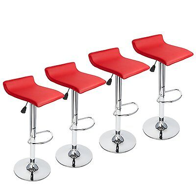 Set of 4 Bar Stools PU Leather Adjustable Swivel Pub Chair Kitchen Dining Red (4 Backless Swivel Stools)