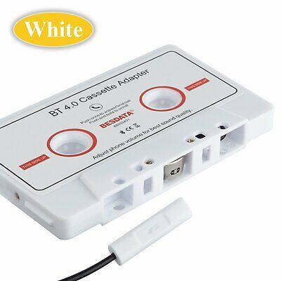 Bluetooth 4.0 Car Music AUX Audio Cassette MP3 Player Tape Adaptor Adaper White