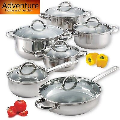 12 Piece Stainless Steel Cookware Set Home Kitchen Pots and Pans Cooking Chef