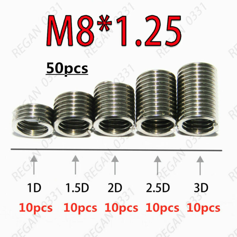 50pcs M8x1.25 Metric Stainless Steel Helicoil Thread Insert Wire Insert Repair