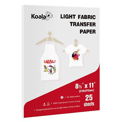 Koala 25 Sheets 8.5x11 Iron On Heat Transfer Paper Light Fabric Cotton T-shirts
