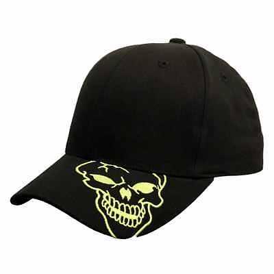 2bb177ca395 Black Neon Skull Skateboard Biker Skeleton Costume Gothic Goth Baseball Hat  Cap