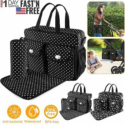 1 set Baby Diaper Bag Larger Mummy Bag  Mommy Nappy Changing Handbag Tote   (Mummy Mom)