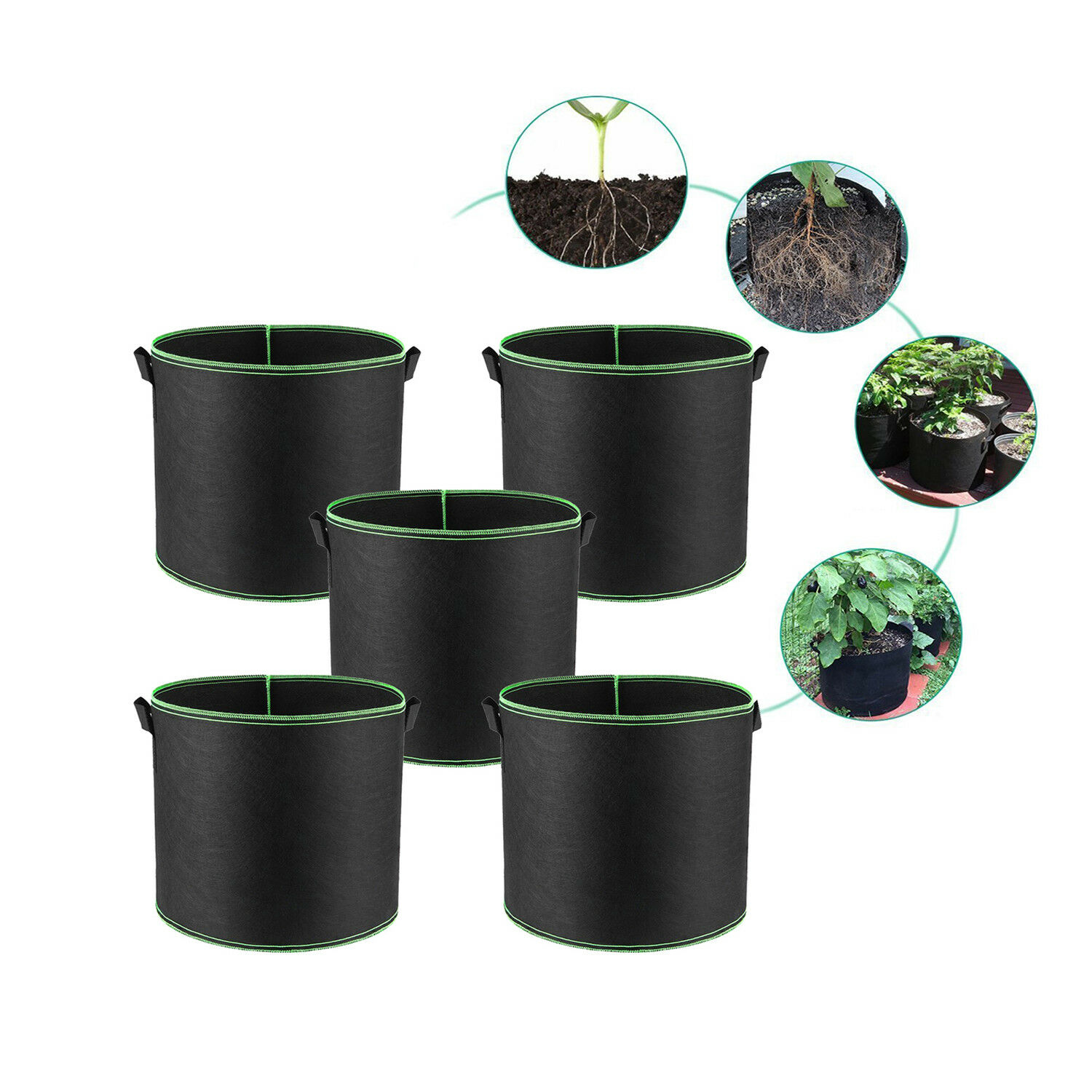 5 pack black green grow bags aeration