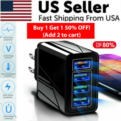 Black US 4 Port Quick Fast Charge 3.0 USB Hub Wall Charger Power Adapter Plug