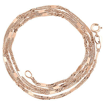 """10K Rose Gold 1.50mm Solid Singapore Bar Fancy Chain Womens Necklace 16"""" - 24"""""""