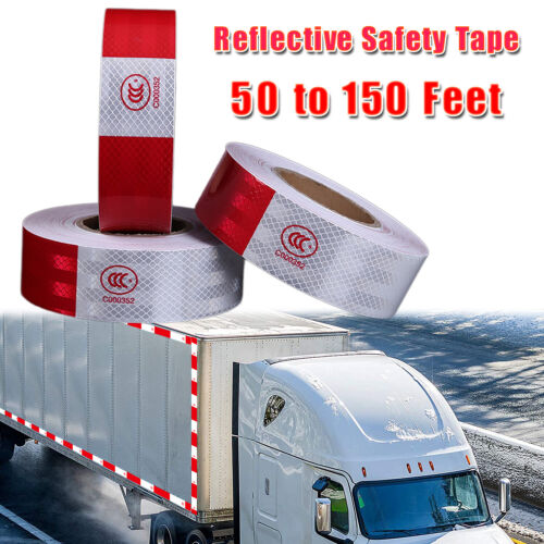 Reflective Safety Tape Conspicuity Tape Red White Warning Sign for Cars, Trucks