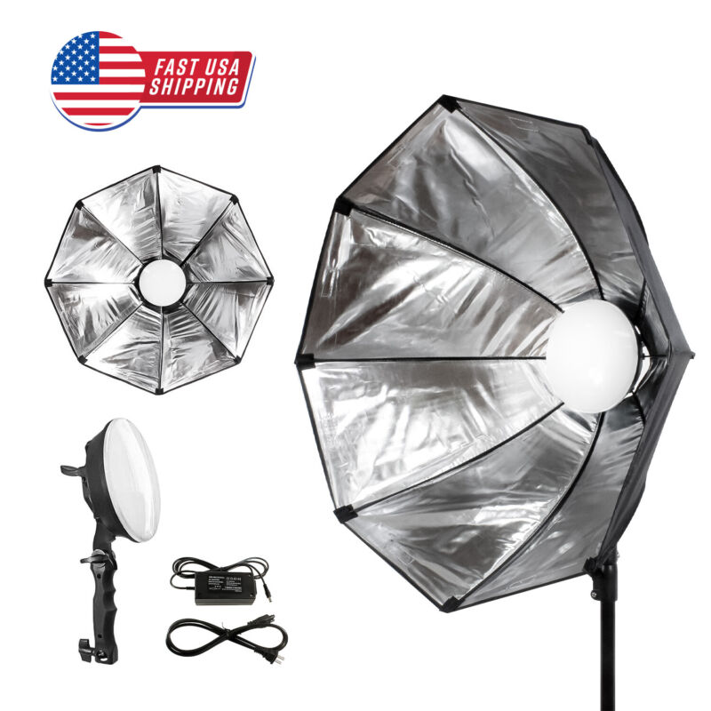 LED Photo Light, 24 x 24 in. Diameter Octagonal Soft Box Reflector and Diffuser