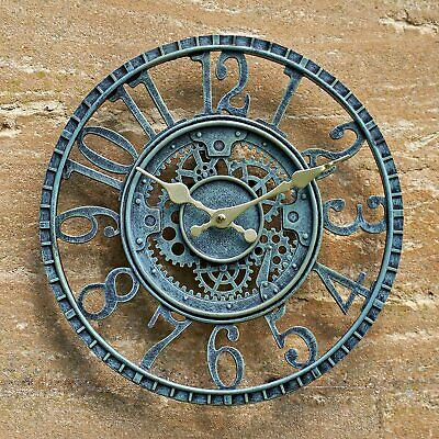 LARGE OUTDOOR GARDEN WALL CLOCK BIG GIANT OPEN FACE METAL BATTERY OPERATED