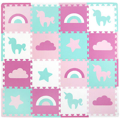 Baby Foam Floor Play Mat Puzzle Toy 16 Tiles Kids Toddlers Activity Gym Unicorns