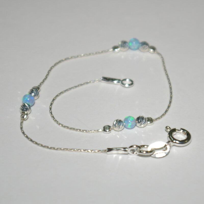 4 pcs Sterling Silver 925 Chain Laser Cut and Light Blue OPAL Bead BRACELETS Lot