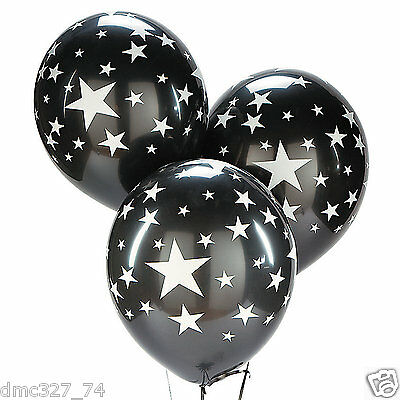 24 HOLLYWOOD Movie Night Party Decorations Latex BALLOONS BLACK SILVER STARS - Balloons Hollywood