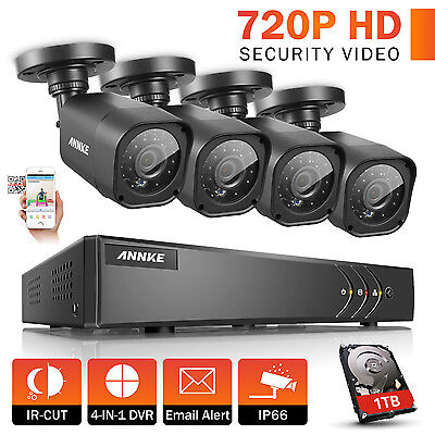 Annke 8CH 1080N DVR Outdoor Night Vision 720P CCTV Security Cameras System 1TB