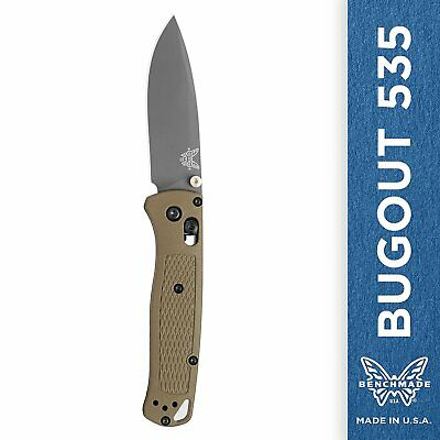 Benchmade Bugout 535 Folding Knife Drop-Point Blade Plain Edge Green Handle