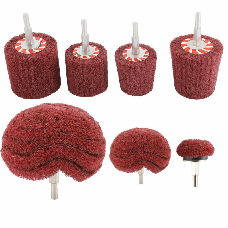 """7 PCS Non Woven Abrasive Buffing Wheels Drill Attachment Set with 1/4"""" Shank"""