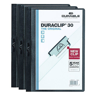 Vinyl DuraClip Report Cover, Letter, Holds 30 Pages, Clear/Graphite, Pack of 3
