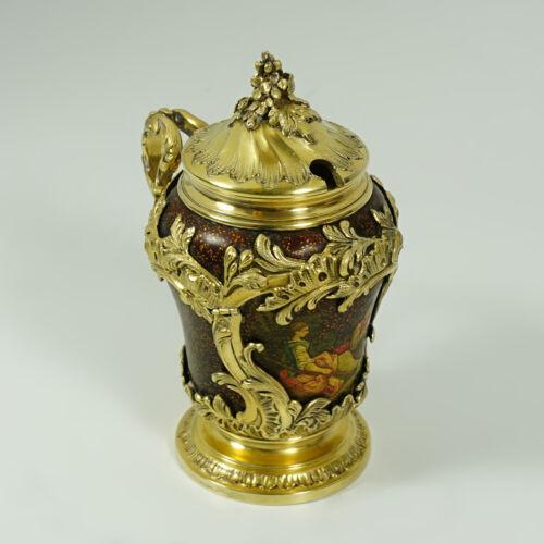 Antique French Sterling Silver Gold Vermeil Vernis Martin Mustard Pot