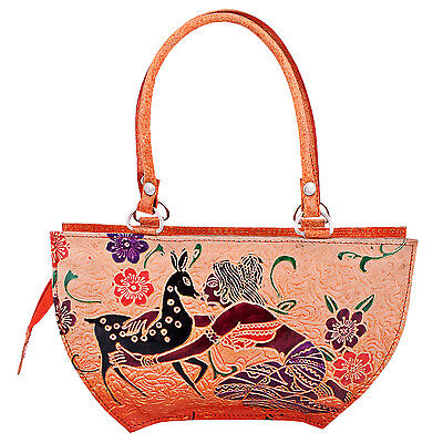 India Handmade Vintage Leather Shantiniketan Embossed Small Handbag Girls Ethnic