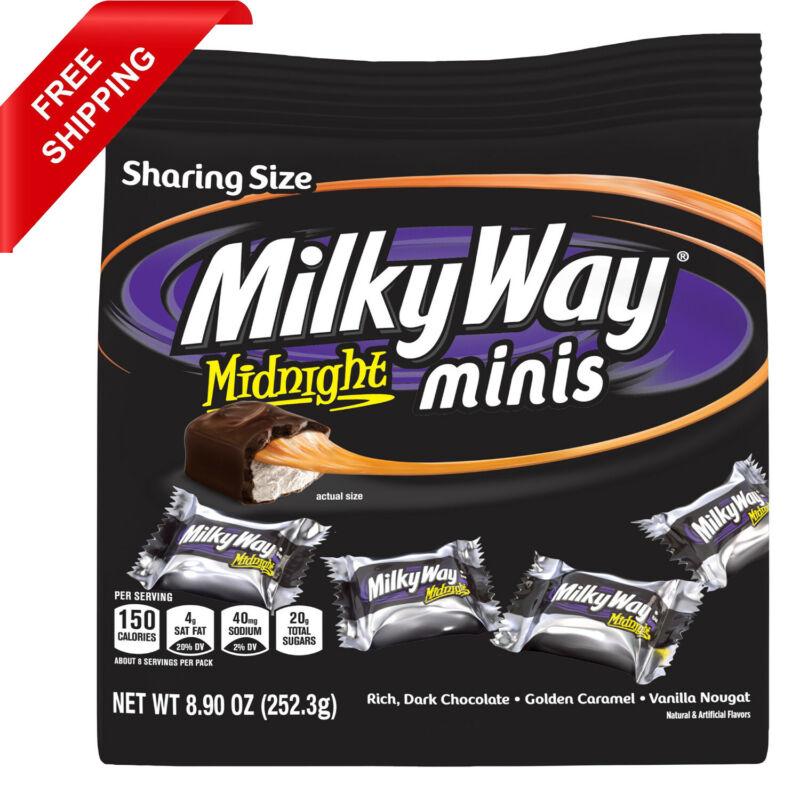 Milky Way Midnight Dark Chocolate Minis Size Candy Bars Bag 8.9 Oz