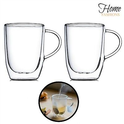 Home Fashion Clear Double-Wall Insulated Hand Blown Glasses (Set of 2) 15 oz - Clear Mugs