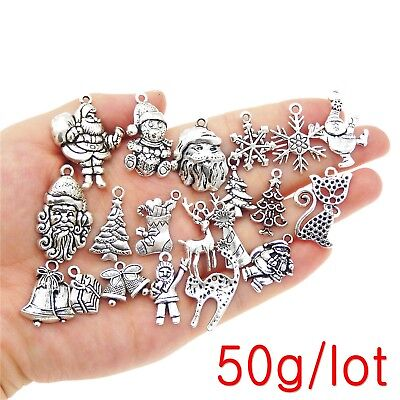 50g  Mix Lot Christmas Series Silver Metal Charms Pendants Jewelry Accessories - Christmas Charms