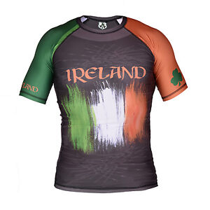 RUGBY-IRLANDA-Rash-Guard-Palestra-RASHGUARD-MANICA-CORTA-COPPA-DEL-MONDO-2015