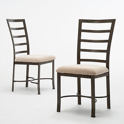 2PCS Upholstered Chairs Metal Frame Dining Chairs Cushion Comfortable Modern  ()