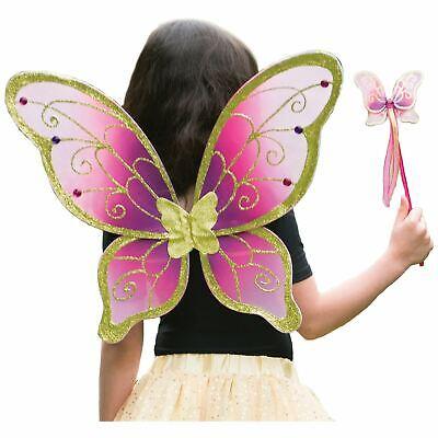 Mädchen Kirschrot Rosa Gold Magische Fee Flügel und Zauberstab Kostüm Satz