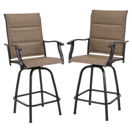Swivel Patio Chairs of 2 Outdoor Kitchen Bar Height Stools Garden Furniture