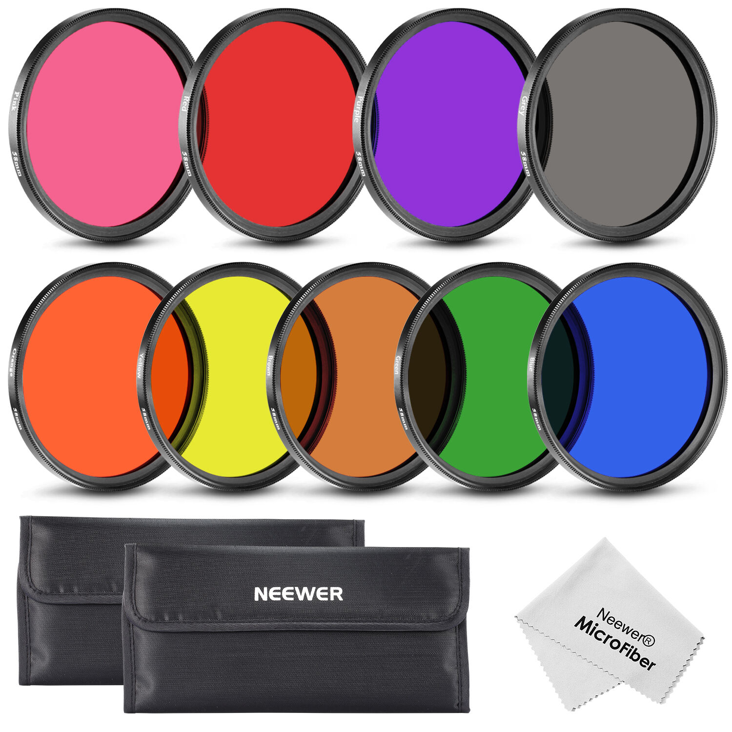 Neewer 58MM Complete Full Color Lens Filter Set  for Camera