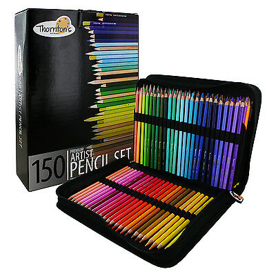 Thornton's Art Supply Soft Core 150 Piece Artist Grade Colored Pencils With Case
