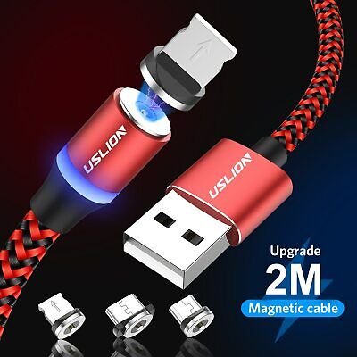 Magnetic LED Charging Phone Cable Type C Micro USB For Samsung Huawei LG Charger
