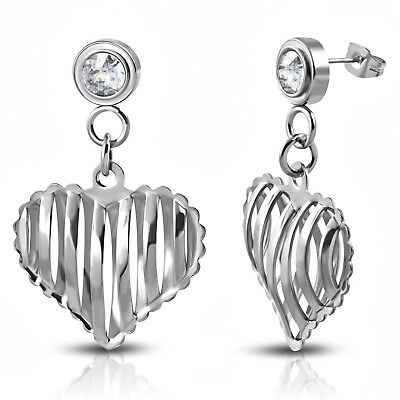 Stainless Steel Cut-Out Heart Pierced Drop Dangle Cubic Zirconia Stud - Cut Out Heart Earrings