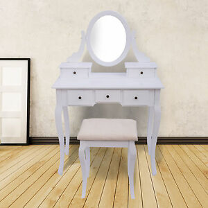 Dressing Makeup Table Set W Stool Drawer Adjustable Vanity Mirror Bedroom Wh