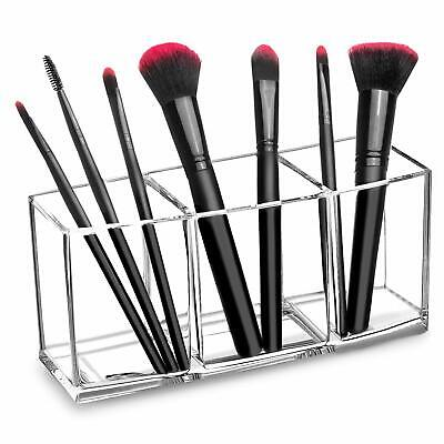 Clear Makeup Brush Holder Organizer, 3 Slot Acrylic Cosmetics Brushes Storage